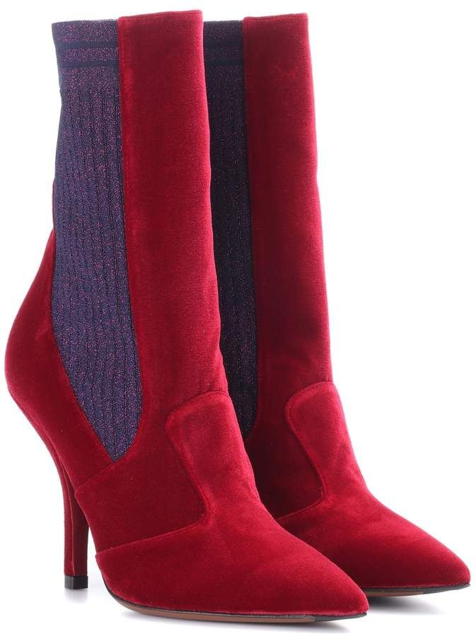 296d67d771b9 Fendi Velvet ankle boots