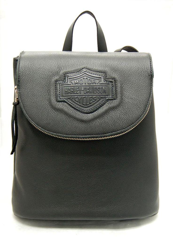 harley davidson women 39 s backpack with zipper flap black. Black Bedroom Furniture Sets. Home Design Ideas