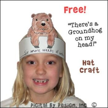 Groundhog Day hat craft and writing activity for preschool children. Celebrate Groundhog Day with this fun hat craft.  Children color the groundhog and write their predictions on the hat.