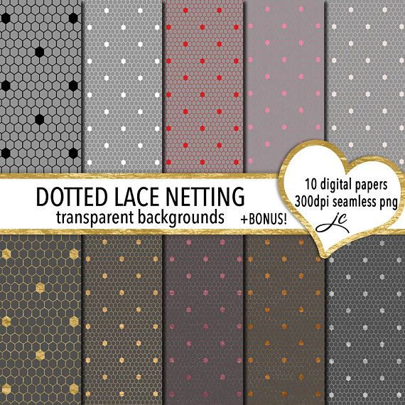 Dotted Lace Netting Digital Papers  BONUS Photoshop Pattern