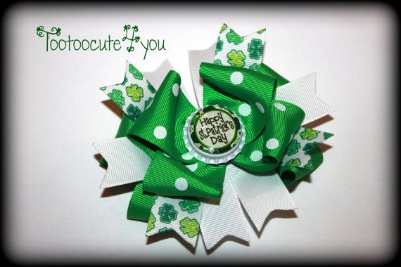 St Patricks Day hair bow  shamrock by tootoocute4you on Etsy