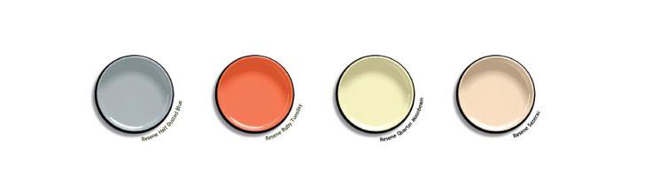 Resene paint palette to match our summer daze moodbaord : sazerac, ruby tuesday, quarter moonbeam, half dusted blue #resene #paint