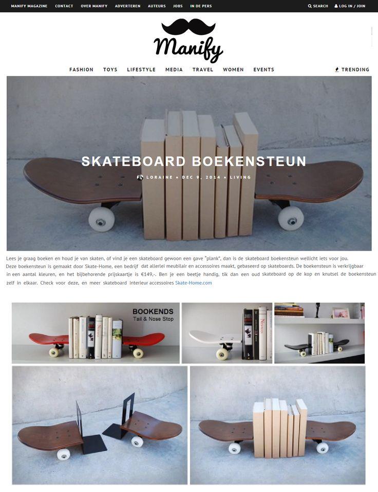 """Lees je graag boeken en houd je van skaten, of vind je een skateboard gewoon een gave """"plank"""", dan is de skateboard boekensteun wellicht iets voor jou. Deze boekensteun is gemaakt door Skate-Home, een bedrijf dat allerlei meubilair en accessoires maakt, gebaseerd op skateboards.  Ben je een beetje handig, tik dan een oud skateboard op de kop en knutsel de boekensteun zelf in elkaar. Check voor deze, en meer skateboard interieur accessoires Skate-Home.com"""