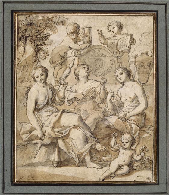 Benedetto Luti (1666-1724) - Les trois Parques, avec deux angelots portant un sablier et un livre - Dessin