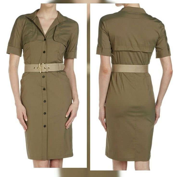 NWT Lafayette 148 Sz 18 Safari Shirt Dress Fatigue Green Dress Belted - $478 #Lafayette148 #ShirtDress #Casual