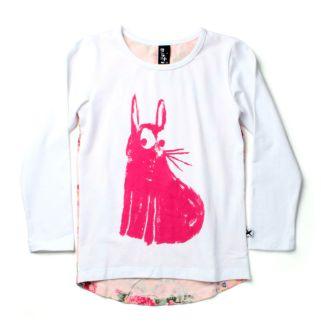 PRE ORDER Minti Curious Bunny White/Floral Long Sleeve Drape Tee