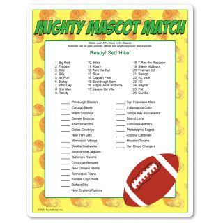 Matching NFL mascots is easy for the football fans...but add a timer and turn up the pressure...this game is about to get heated! Perfect for Thanksgiving football game watching.