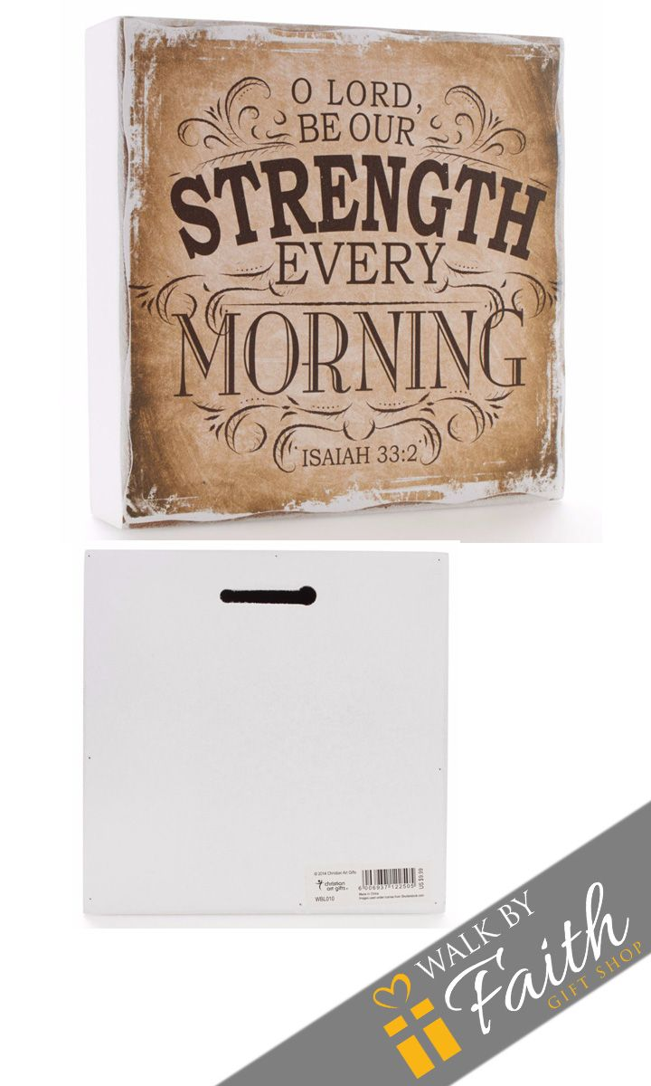 """Our Brown Vintage Graphic Small Wooden Wall Plaque offers a prayer and inspiration at every glimpse. Scripture from Isaiah 33:2 is presented in a vintage sign design on the """"antiqued"""" face. There is a"""