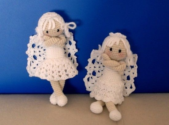 Nice lace.  I would uncross arms.  Angels FREE Crochet Patterns. https://amigurumibb.files.wordpress.com/2013/04/angel.pdf