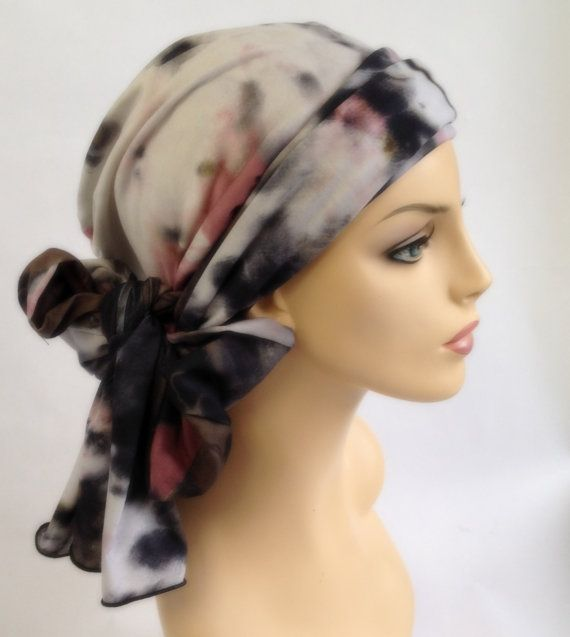 Mauve Turban, Head Wrap, Chemo Hat, Alopecia Head Scarf, Olive Green, Gray, Boho, Gypsy, Hat & Scarf Set