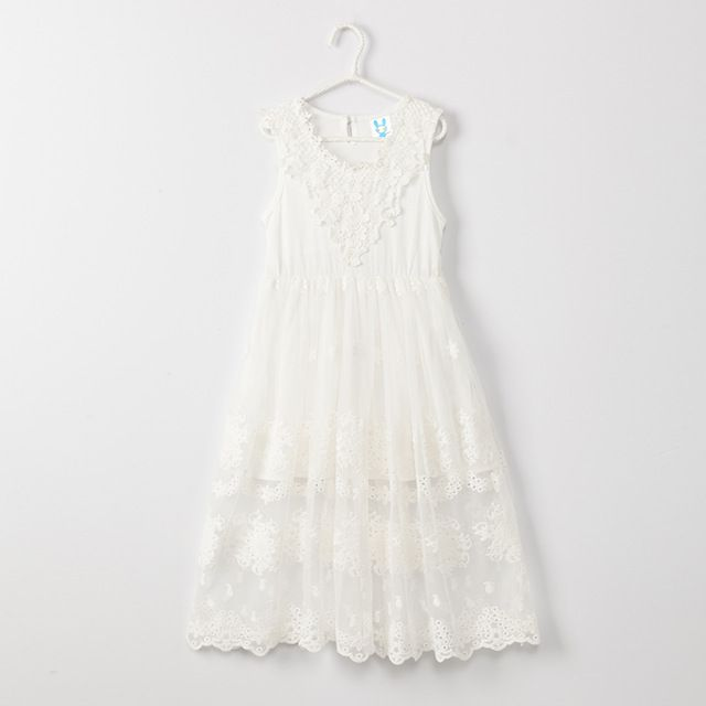 Buy now Retail 3T to 12 years kids & teenager girls solid white black sleeveless lace princess party dresses child V-neck eyelet dress just only $22.75 with free shipping worldwide #girlsclothing Plese click on picture to see our special price for you