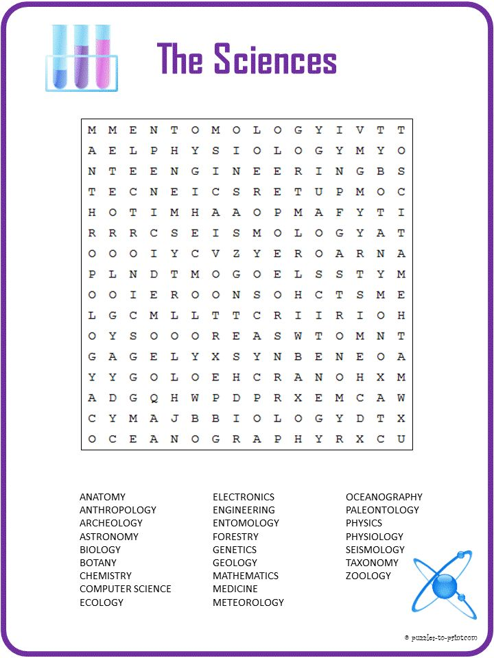 this printable science word search includes 27 words for the different branches of science it. Black Bedroom Furniture Sets. Home Design Ideas