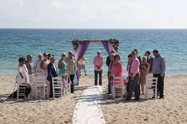 The most stunning backdrop for your #destinationwedding ceremony in Naxos Greece. Alyko Beach #naxosweddings #greeceweddings