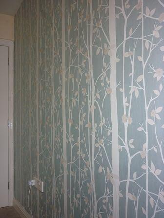 Laura Ashley Cottonwood Duck Egg Bedroom Feature Wall