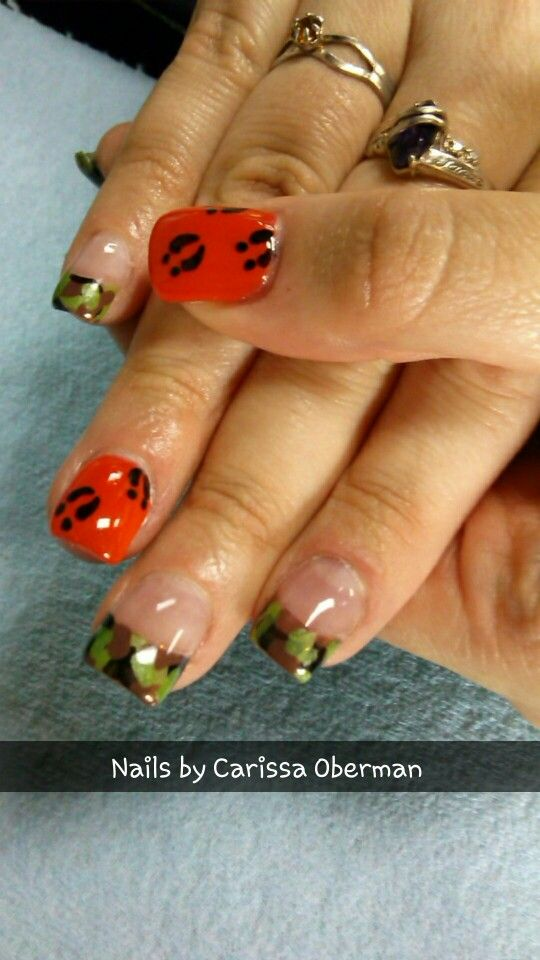 Hoof print camo acrylic nails