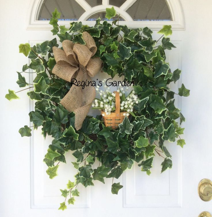 REGINA'S GARDEN BASKET Wreath-Spring Wreath-Farmhouse Decor-Summer Wreath-Wreath for Door-Ivy Wreath-Country Cottage Wreath-Greenery Wreath by ReginasGarden on Etsy https://www.etsy.com/listing/507063690/reginas-garden-basket-wreath-spring