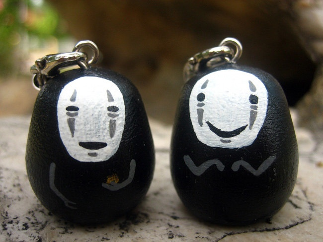 Lot of 2 Spirited Away NO FACE / Faceless Studio Ghibli doll key chains rings (S Size No. 4 - 5). $9.50, via Etsy.