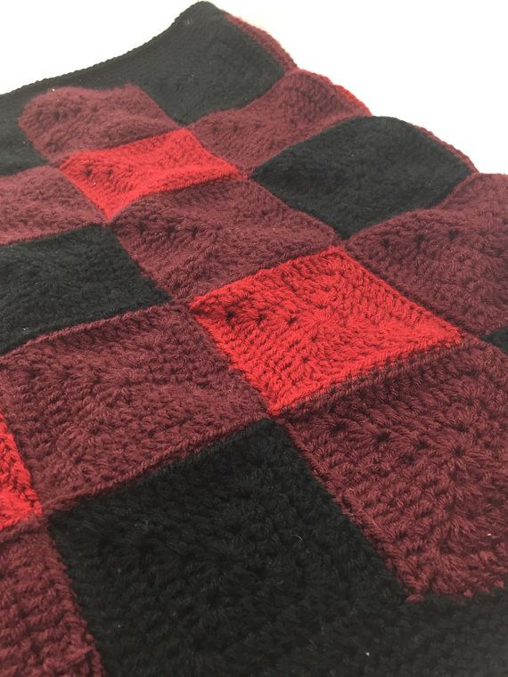 Red and Black Buffalo Plaid Handmade by SpinningYarnsCrochet
