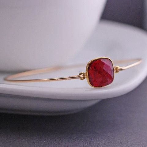 georgiedesigns - Gold Ruby Gemstone Bangle, Gold Bangle Bracelet Gift, Gold Ruby Bracelet, Ruby Jewelry