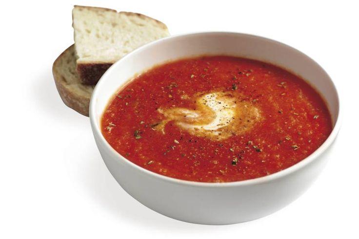 Kijk wat een lekker recept ik heb gevonden op Allerhande! Paprika-tomatensoep