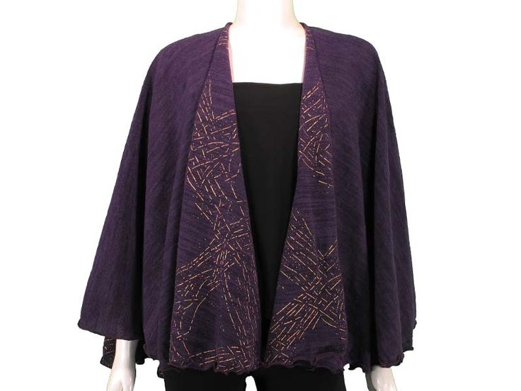 Reversible Shawl with Gold Detail in Purple - The perfect solution to a night out!  This REVERSIBLE SHAWL features gold details on one side, and is a classic solid colour on the other.  Stay stylish, and stay practical with this lightweight but warm shawl! Available in Black, Ivory, Red, and Purple.