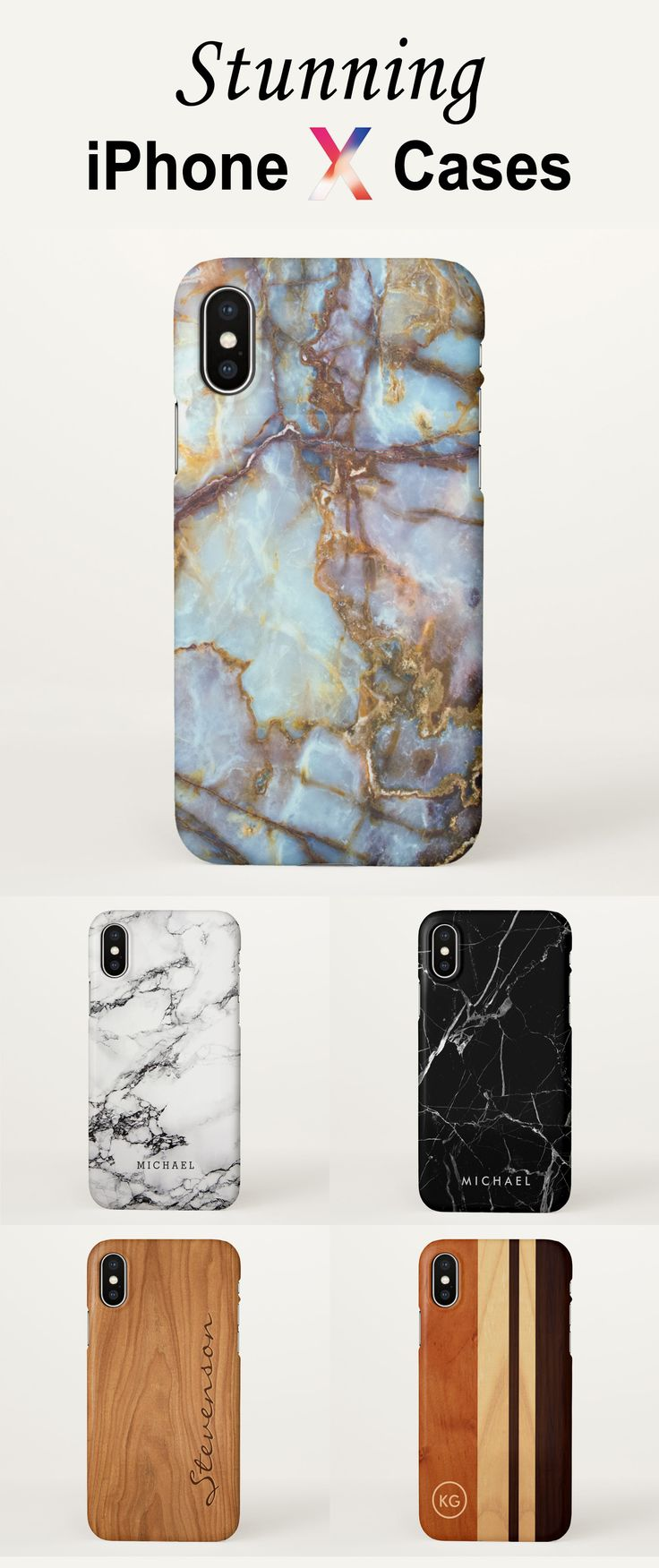 Stunning iPhone X Cases | Custom iPhone X Covers |  Marble iPhone X Case | Wood Look iPhone X Case