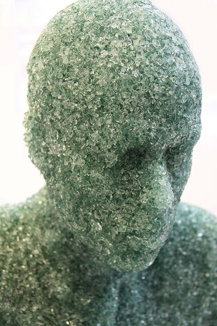 shattered glass sculptures by artist Daniel Arsham