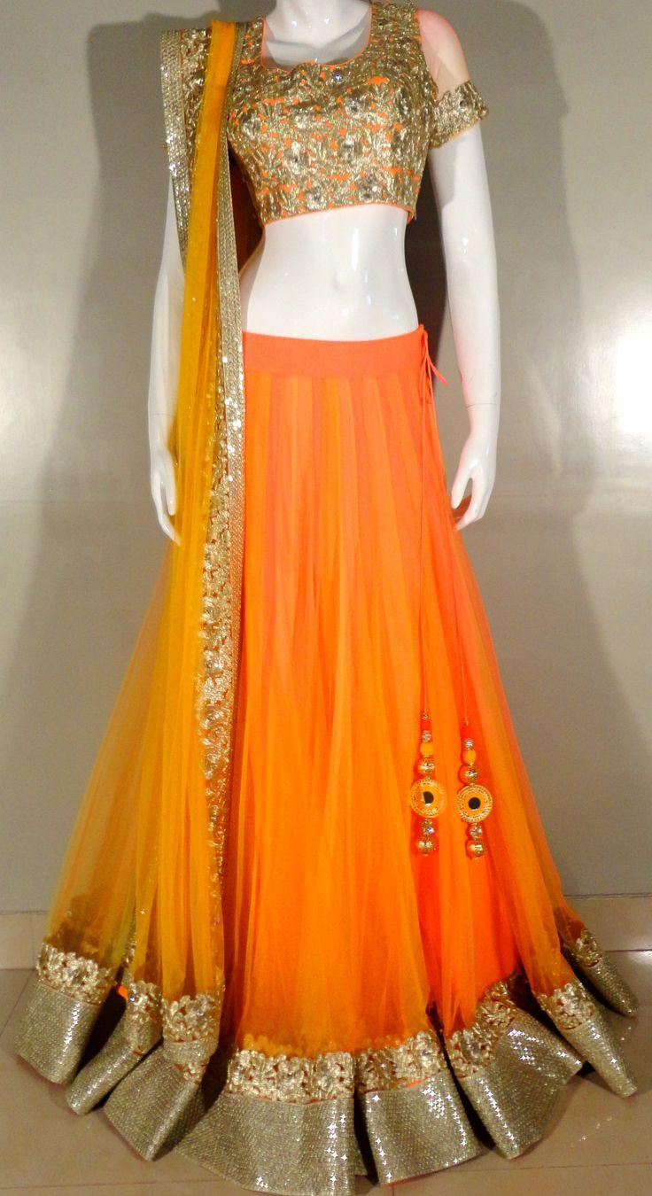 Indian# Bollywood Fashion# Neon# Orange# Ghagra Choli