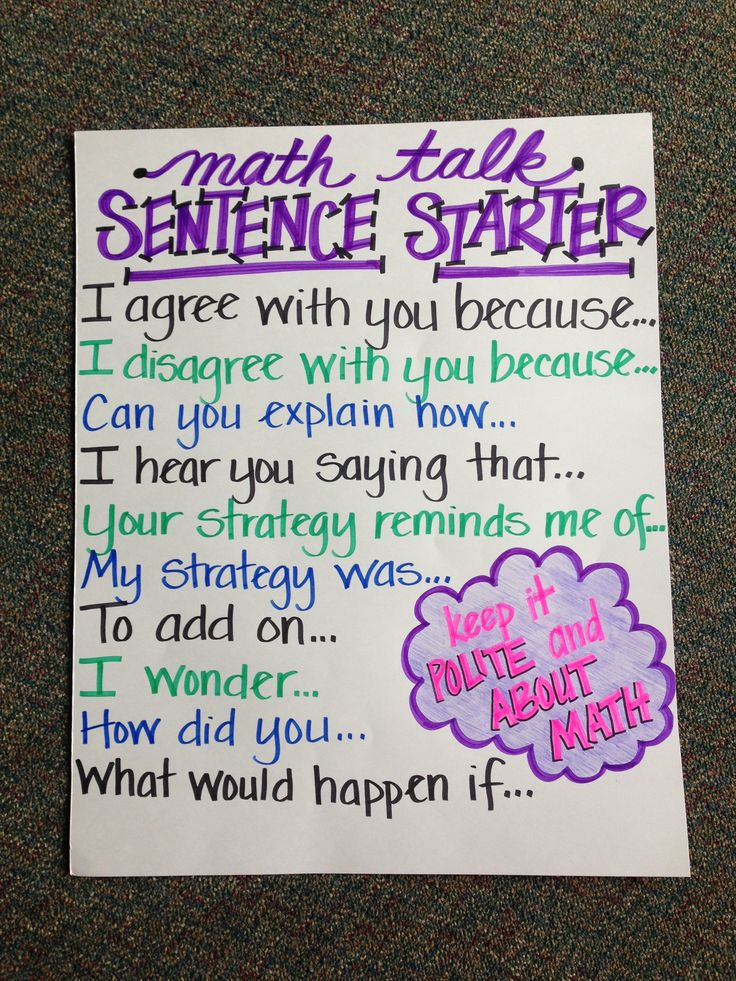 Math talk sentence starters…picture only