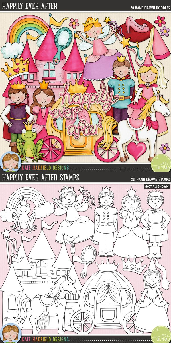Fairy tale digital scrapbooking elements | Cute fairytale princess clip art | Hand-drawn illustrations for digital scrapbooking, crafting and teaching resources from Kate Hadfield Designs! Click through to see projects created using these illustrations!