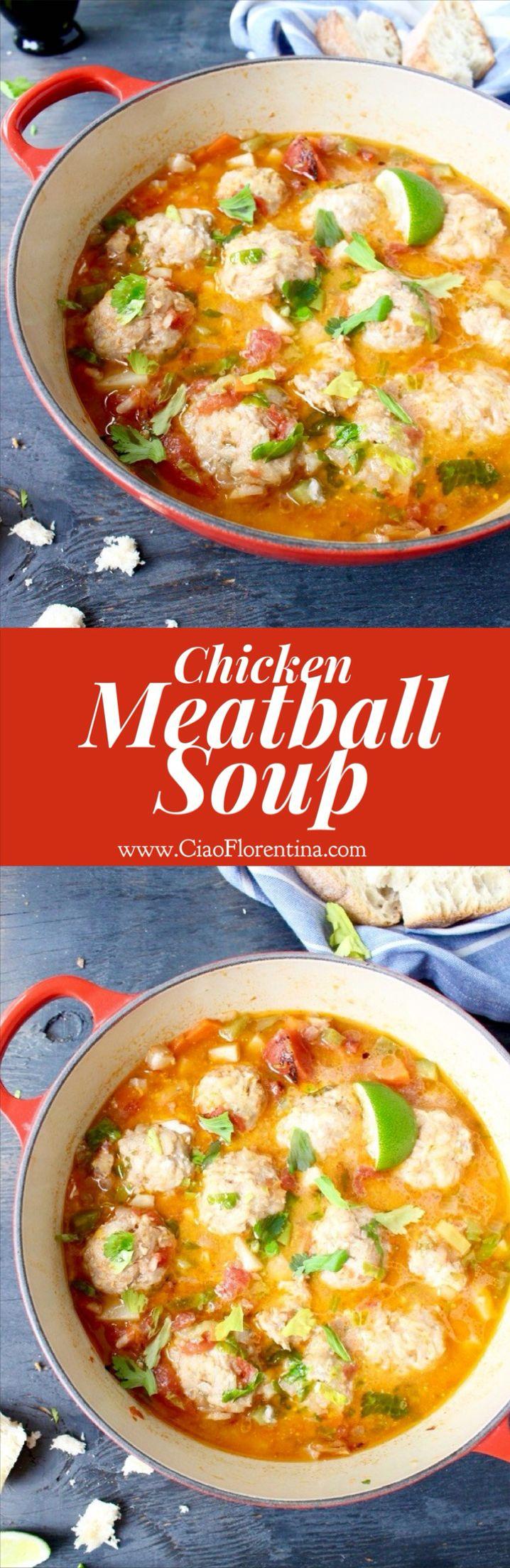 Chicken Meatball Soup Recipe with Ginger and Celery Root ( Sopa de Albondigas) | CiaoFlorentina.com @CiaoFlorentina