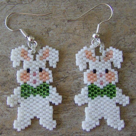 Bunny Earrings Hand Made Seed Beaded via Etsy