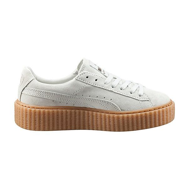 Puma PUMA BY RIHANNA WOMEN'S CREEPER ($120) ❤ liked on Polyvore featuring shoes, platform shoes, laced shoes, suede lace up shoes, punk platform shoes and cat print shoes