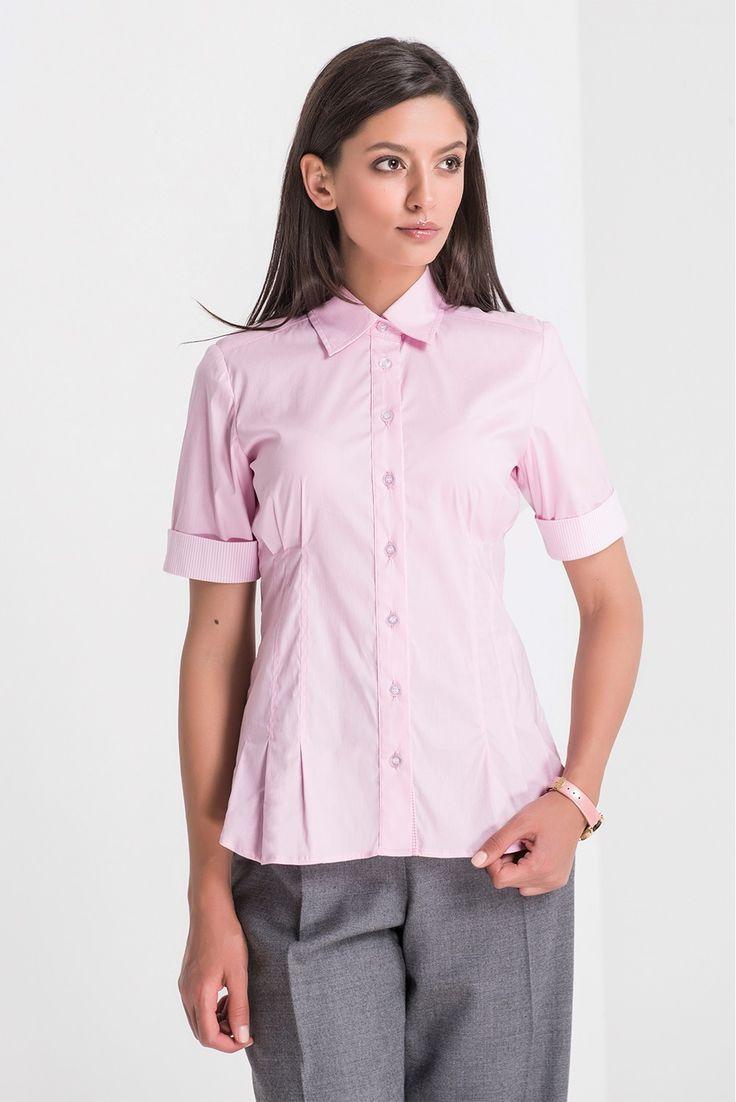 Camasa Verner S roz - Camasa roz cu maneca scurta si detalii in dungi alb-roz.