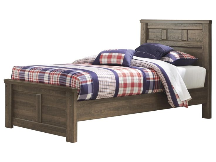Bring in a rustic look to a bedroom with this transitional panel bed. It features framed moldings which showcase the beautiful vintage aged brown finish and add depth and dimension into any room. Featuring modern clean, simple lines, this panel bed will bring a fresh and updated look into any bedroom.