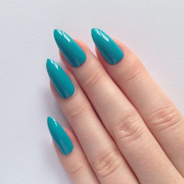 Blue Stiletto nails, Nail designs, Nail art, Nails, Stiletto nails,... ($19) ❤ liked on Polyvore featuring beauty products, nail care, nail treatments, nails, makeup, beauty and accessories