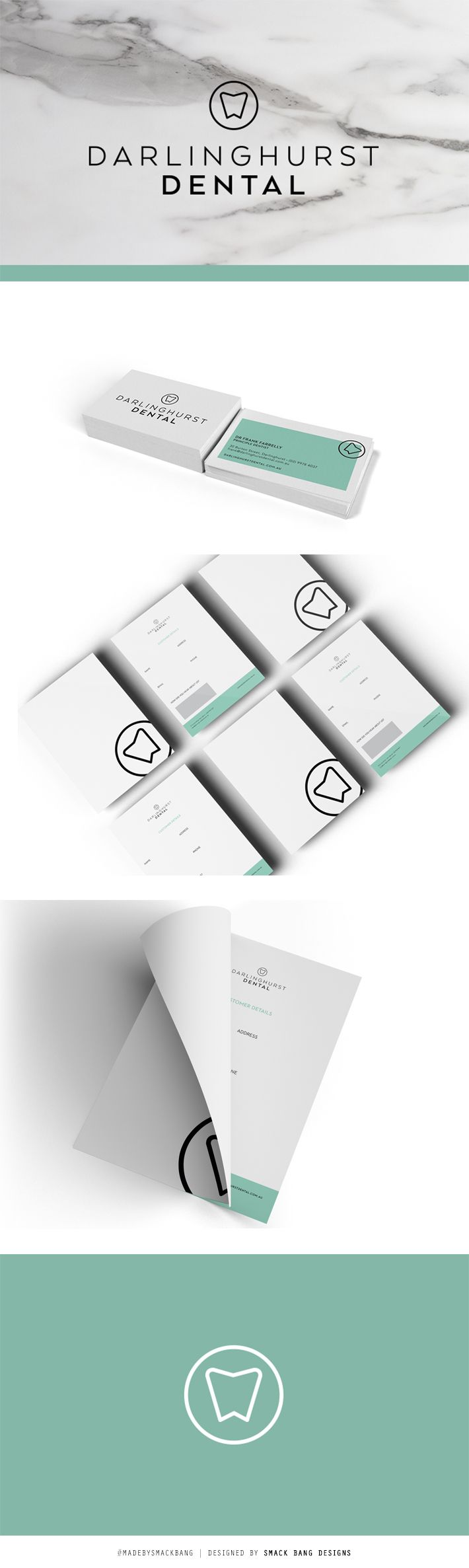 Darlinghurst Dental branding by Smack Bang Designs #Branding #BusinessCards #Logotype #Stationary #SmackBangDesigns #madebysmackbang