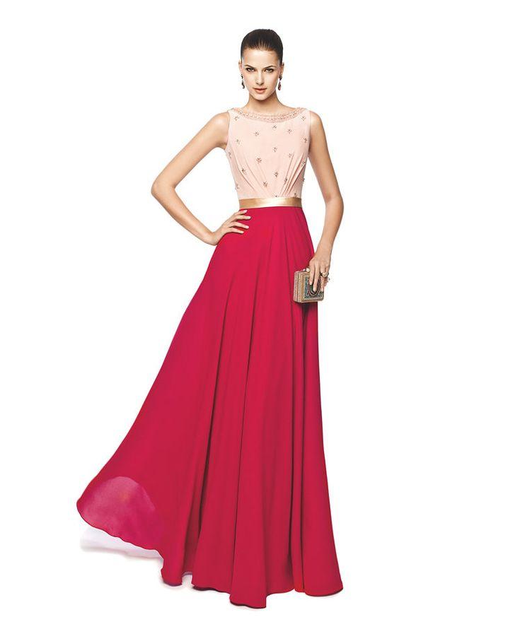 Vestido de fiesta escote halter color rojo y rosa Modelo Naia - Pronovias 2015