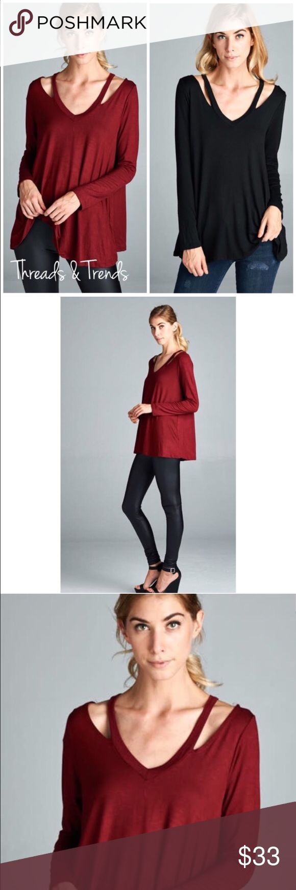 """Strappy N Neck Top A fresh new look to the long sleeve Top. Strappy is trending with this unique twist to the V neckline top. Made of rayon and spandex.                                         Colors black & burgundy.                                  Small bust 34"""" Length 27""""  Medium Bust 36"""" Length 27""""  Large Bust 38"""" Length 27"""" fabric stretches an extra 2 inches . Tops Tees - Long Sleeve"""