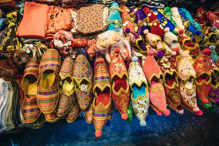 24. Grand Bazaar shoes:  Shoes of every hue can be bought here. Other popular buys at the Grand Bazaar include carpets and kilims (tapestry-woven rugs), leather goods, textiles, antiques, and jewelry.