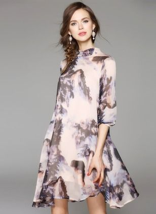 Polyester Silk Floral 1009496/1009496 Sleeves Above Knee Casual Dresses (1009496) @ floryday.com