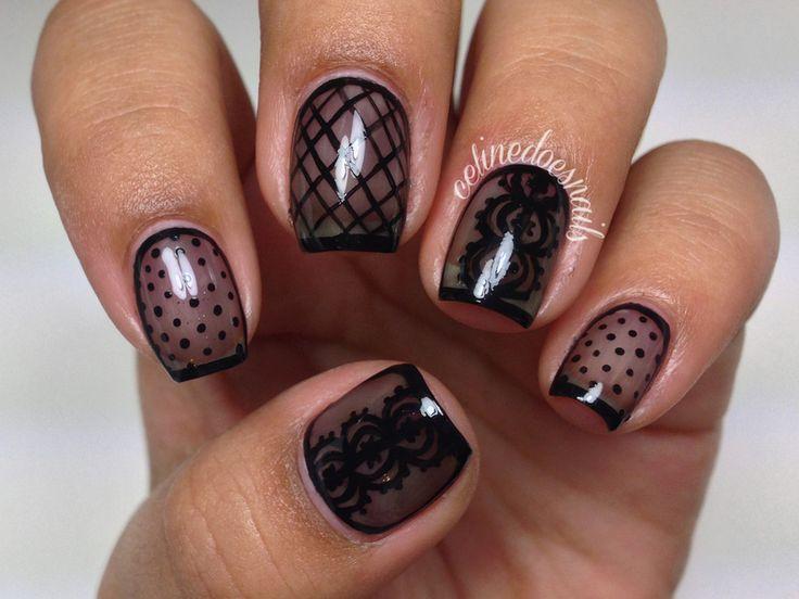 Nailpolis Museum of Nail Art | Sheer Black Nail Art by Celine Peña