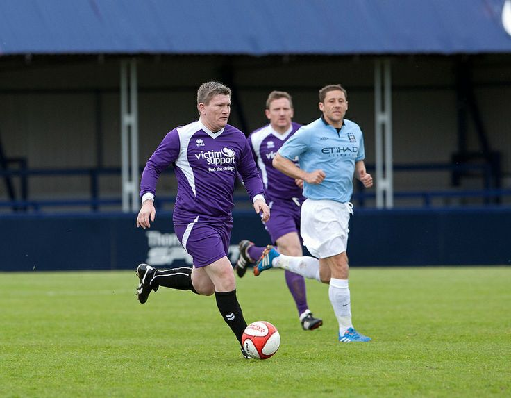 Boxing legend Ricky Hatton on the ball. Manchester City Old Boys took on a Victim Support team – made up of police officers, firefighters, probation workers, New Charter staff and others - on Saturday, 10 May 2014. The game – played at Hyde United's ground raised funds for Victim Support. http://www.gmp.police.uk