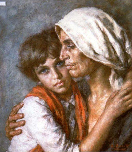 Italian Art ~ Luigi Amato - Le Anacapresi Confidenze (Woman And Girl From Anacapri - Confidences)