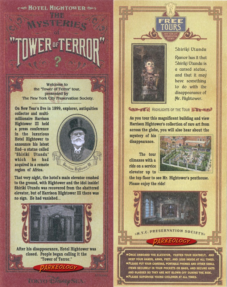 Amazing Storytelling Tower Of Terror Story Card From