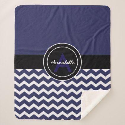 Dark Blue Black Chevron Sherpa Blanket - monogram gifts unique design style monogrammed diy cyo customize