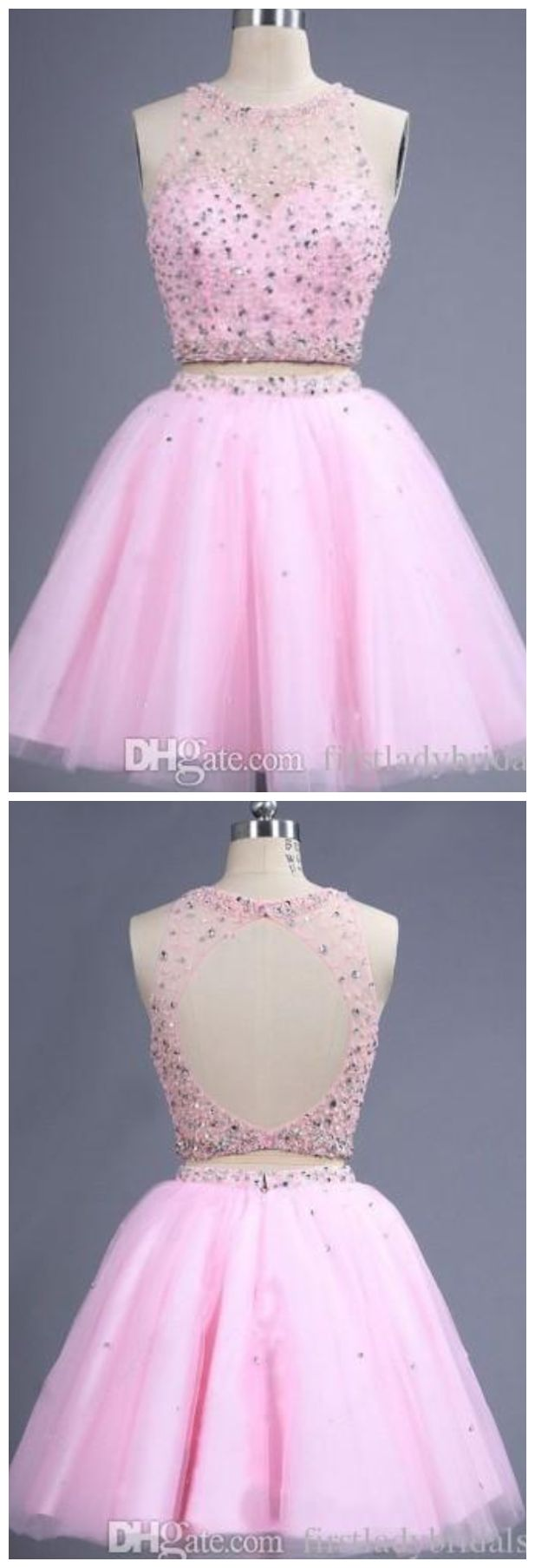 Short Homecoming Dresses Pink Real Photos Sheer Crew Neck Two Pieces Prom Gowns Backless Beaded Cocktail Party Dress Tulle Cheap
