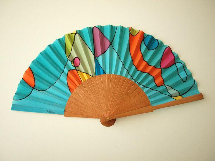 Handpainted Silk hand fan-Wedding hand fan- Silk hand fan-Bridesmaids- Spanish hand fan- Ooak hand fan by gilbea on Etsy