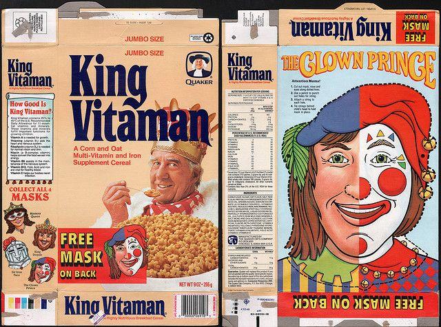 Quaker cereal boxes   Quaker - King Vitamin - Free Mask Clown Prince - cereal box - 1991 ...