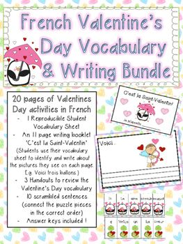 French Valentine's Day Writing and Vocabulary Bundle